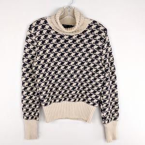 Club Monaco | Tan Black Print Wool Sweater